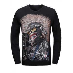V-Neck 3D Evil Print Long Sleeve Sweater