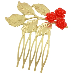 Alloy Flower Leaf Hair Accessory - Red