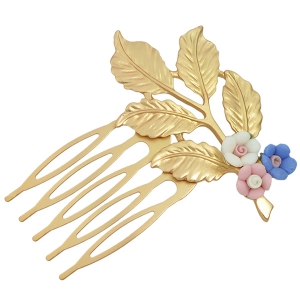 Alloy Flower Leaf Hair Accessory - Colormix