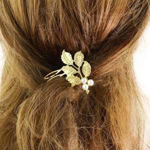 Alloy Faux Pearl Hair Accessory - Golden