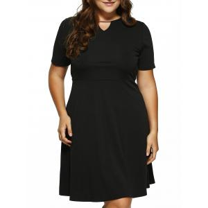 Plus Size Cut Out Fit and Flare Dress - Black - 5xl