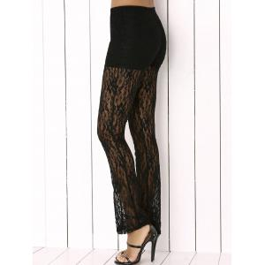 Lace See Through Pants - Black - S