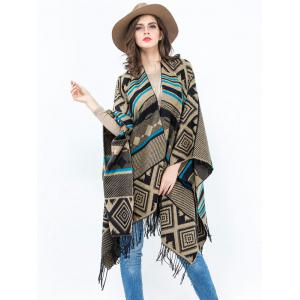 Vintage Geometry Rhombus Open Front Tassel Pashmina Poncho