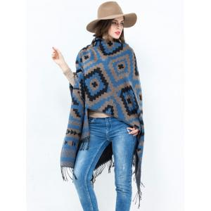 Plaid Wave Design Open Front Tassel Pashmina Poncho - Blue - One Size