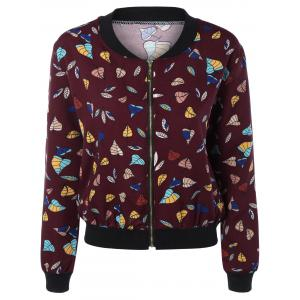 Leaf Print Pocket Design Zippered Jacket