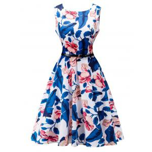 Belted Floral Print High Waist Swing Dress