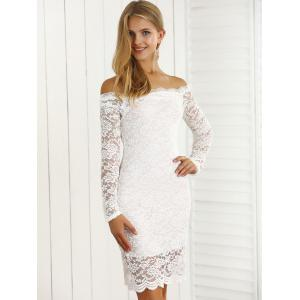 Off-The-Shoulder Scalloped Slimming Lace Dress -