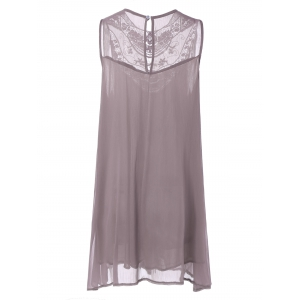 Embroidered Lace Insert Plus Size Casual Sleeveless Dress - PINK 2XL