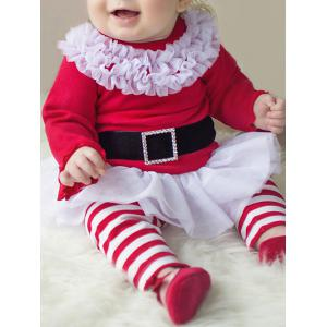 Baby Girls Santa Christmas Outfits - Red With White - 70