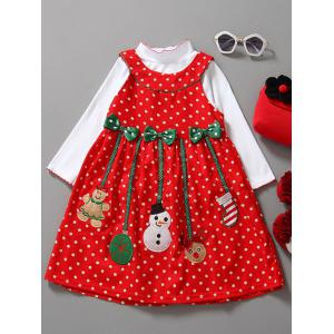 Long Sleeve Top and Christmas Dress 2 PCS - Red - 120