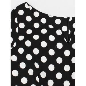 Retro Polka Dot Swing Fit and Flare Dress - BLACK 4XL