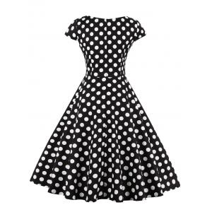 Retro Polka Dot Fit and Flare Dress - BLACK 4XL