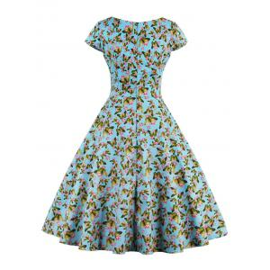 Retro Butterfly Pattern Skater Dress -