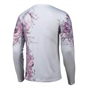 Floral 3D Print Round Neck Long Sleeve T-Shirt - GRAY 4XL