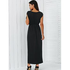 V Neck Empire Waist Surplice Maxi Evening Dress -
