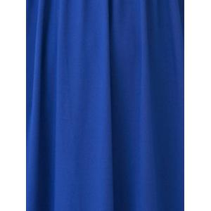 V Neck Empire Waist Surplice Maxi Evening Dress - SAPPHIRE BLUE XL