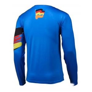 Flag Pattern Color Splicing Long Sleeve T-Shirt - BLUE XL