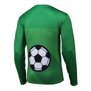 Abstract 3D Print Round Neck Long Sleeve T-Shirt - GREEN 4XL