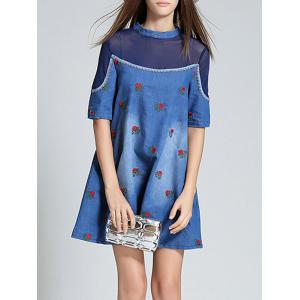 Mesh Spliced Denim Jacquard Dress -