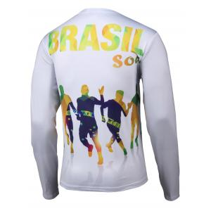 Football 3D Printed Round Neck Long Sleeve T-Shirt -