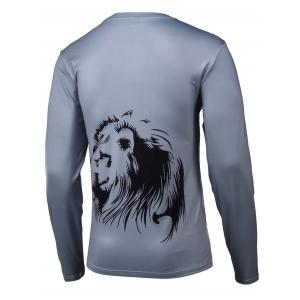 Lion 3D Printed Round Neck Long Sleeve T-Shirt - GRAY 4XL