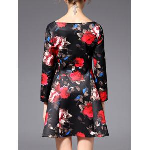 Mini Flare Floral Prom Dress - BLACK 2XL