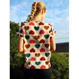 Scoop Collar Short Sleeve Heart Print Chiffon Blouse -