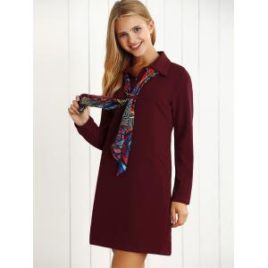 Long Sleeves Buttoned Shift Dress with Scarf -