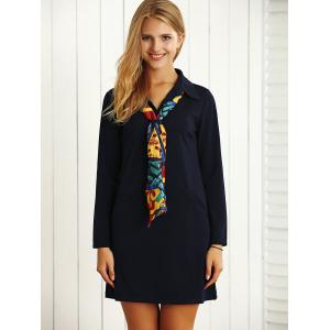 Long Sleeves Buttoned Shift Work Dress with Scarf -