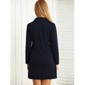 Long Sleeves Buttoned Shift Dress with Scarf - DEEP BLUE L