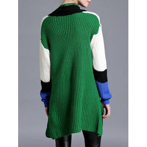 Asymmetrical Furcal V Neck Knitwear - GREEN ONE SIZE