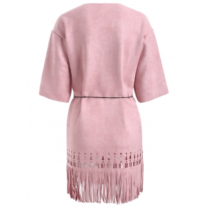 Suede Cutout Fringed Dress -