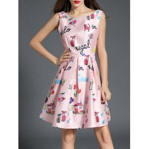 Boat Neck Printed A Line Dress - PINK S