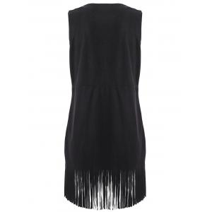 Rivet Sleeveless Suede Fringed Dress -
