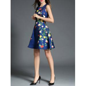 Sleeveless A Line Floral Print Dress - BLUE S