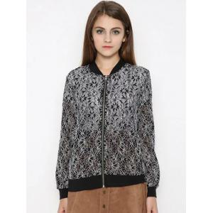 Zippered Water Soluble Lace Bomber Jacket -