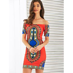Off The Shoulder Totem Print Bodycon Dress -