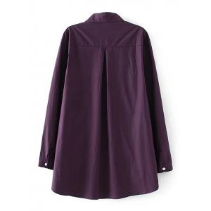 Long Sleeves Buttoned Back Ruched Shirt - VIOLET 3XL