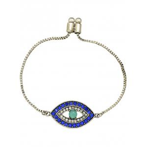 Alloy Rhinestone Eye Shape Bead Bracelet -