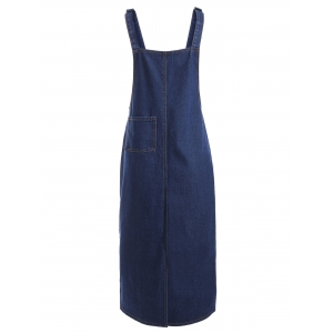 Front Pocket Slit Denim Midi Pinafore Dress -