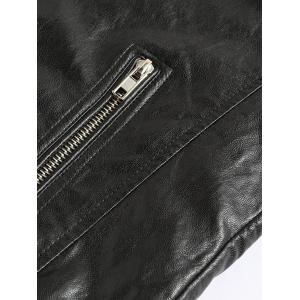Zippered Spliced Stand Collar Faux Leather Jacket - BLACK 5XL