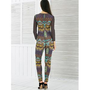 See-Through Mesh Spliced Printed Jumpsuit -