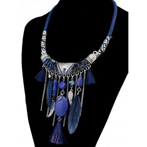 Faux Turquoise Feather Fringe Tassel Geometric Necklace -