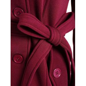 Double Breasted Belted Coat - WINE RED 3XL