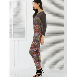 Long Sleeve Mesh Spliced Printed Jumpsuit -