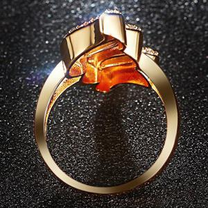 Hollowed Faux Zircon Ring - GOLDEN 8
