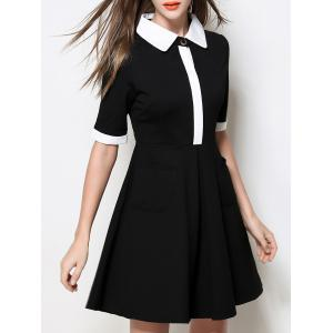 Contrasting Collar Fit and Flare Dress -