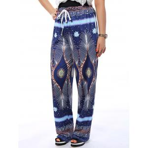 Drawstring Printed Flowy Loose Pants -