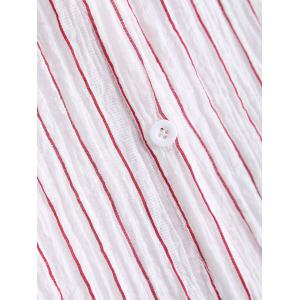 Long Sleeve Letter Embroidered Stripe Shirt -