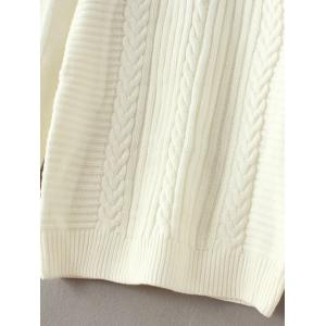 Cut Out Cold Shoulder Sweater - WHITE ONE SIZE